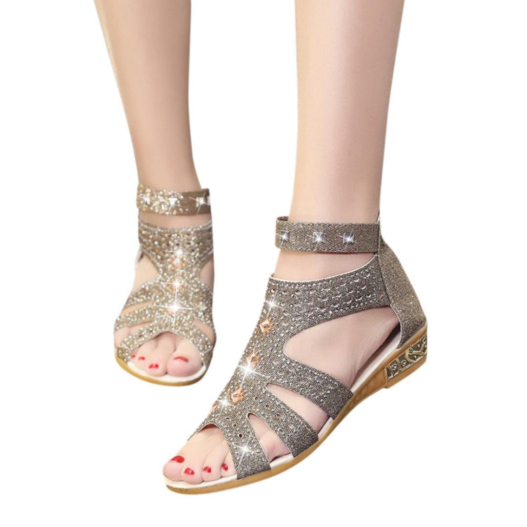 FORUU Spring Summer Women Wedge Sandals Fashion Fish Mouth Hollow Roma Shoes (37, Gold) by FORUU womens shoes
