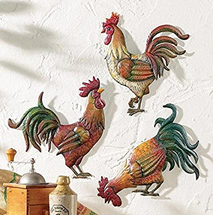 Amazon.com: Premium Metal French Country Rooster Wall Art Trio By ...