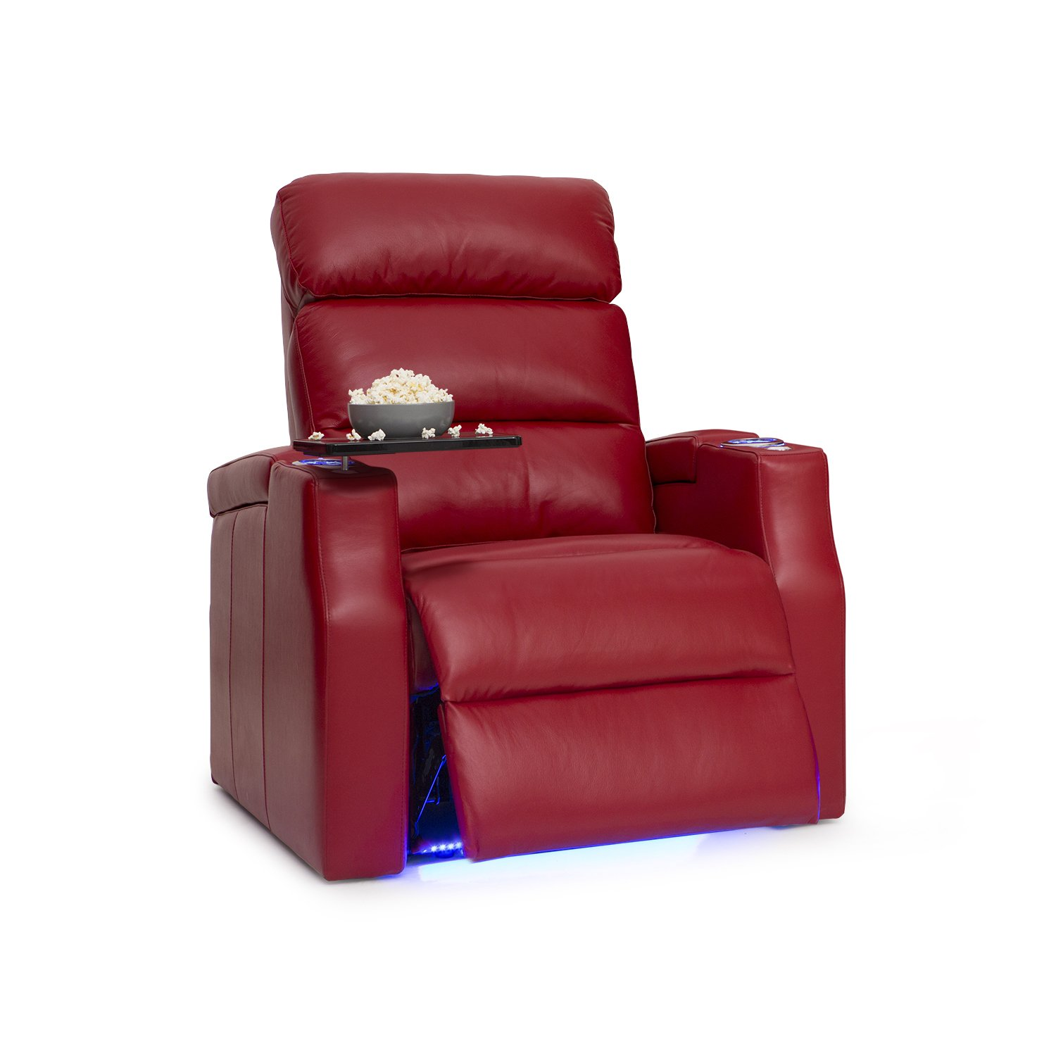 Barcalounger Matrix Leather Power Home Theater Recliner with Adjustable Powered Headrests, In-Arm Storage, and USB Charging, Red