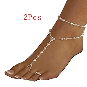 933c79099f58 Image Unavailable. Image not available for. Color  Tonsee Pearl Barefoot  Sandal Foot Jewelry Anklet Chain