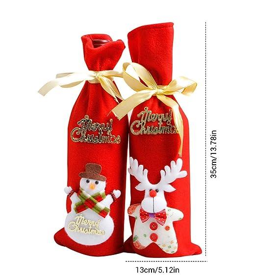 Comtervi Bolsa de Botella de Vino de Navidad, Cubierta de Botella de Vino de Navidad, Juego de Bolsas de decoración de Botellas de Vino de Navidad para ...