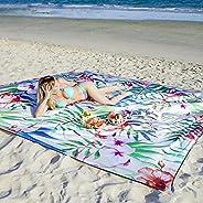 ESNESEMOH Sandfree Beach Blanket with 4 Stakes & 4 Corner Pockets,Extra Large Oversized 10'X 9', W