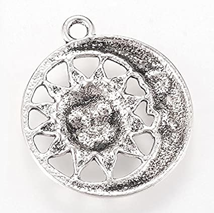 5 x Tibetan Silver LIVE WITH NO REGRETS DISC 14mm Charms Pendants Beads