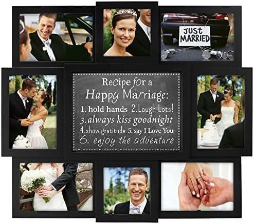 Malden International Designs Happy Marriage Recipe Collage Frame, 8 Option, 6-4x6 & 2-4x4, Black