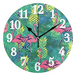 WIHVE Round Wall Clock Flamingos Pineapples and Tropical Leaves Home Art Decor Non-Ticking Numeral Clock for Home Office