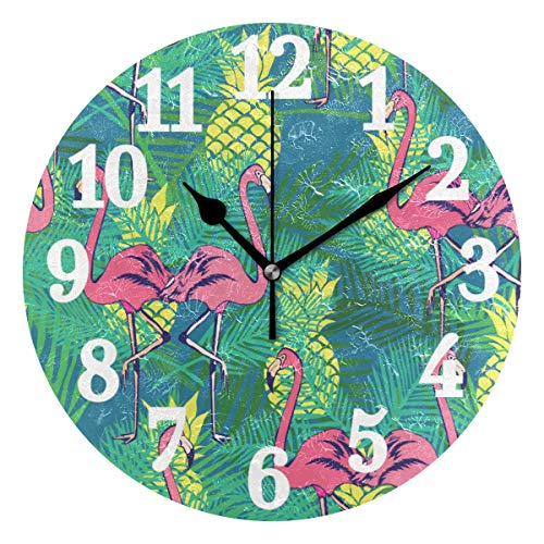 - WIHVE Round Wall Clock Flamingos Pineapples and Tropical Leaves Home Art Decor Non-Ticking Numeral Clock for Home Office