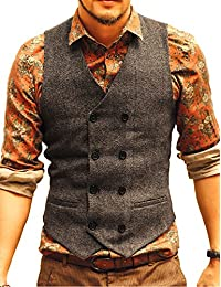 JYDress Men's Vintage Slim Fit Double Breasted Solid Suit Vest