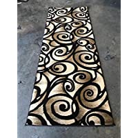 Modern Wide Runner Area Rug 400,000 Point Swirl Contempo Design Chocolate Brown 341 (32 Inch X 7 Feet 3 Inch)
