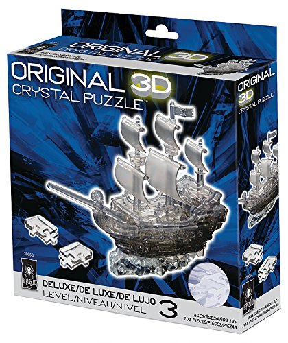 Bepuzzled Original 3D Crystal Puzzle - Deluxe Pirate Ship Black
