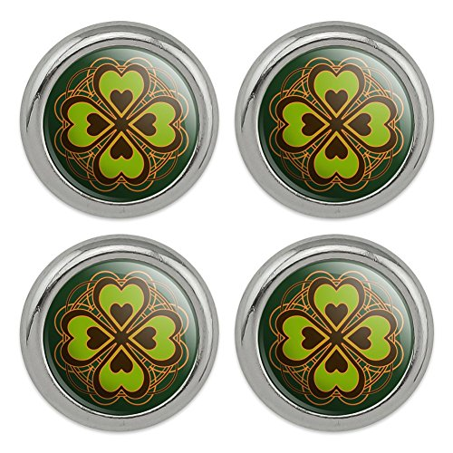 Four Leaf Clover Lucky Metal Craft Sewing Novelty Buttons - Set of 4