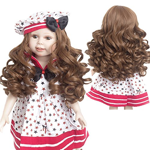 Penny Brown Doll Wigs with Simulation Scalp for 18'' American Dolls Beautiful Hair Accessories