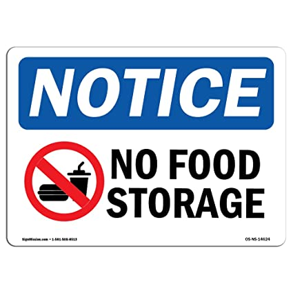 61dac8457 Amazon.com  OSHA Notice Signs - No Food Storage Sign with Symbol ...