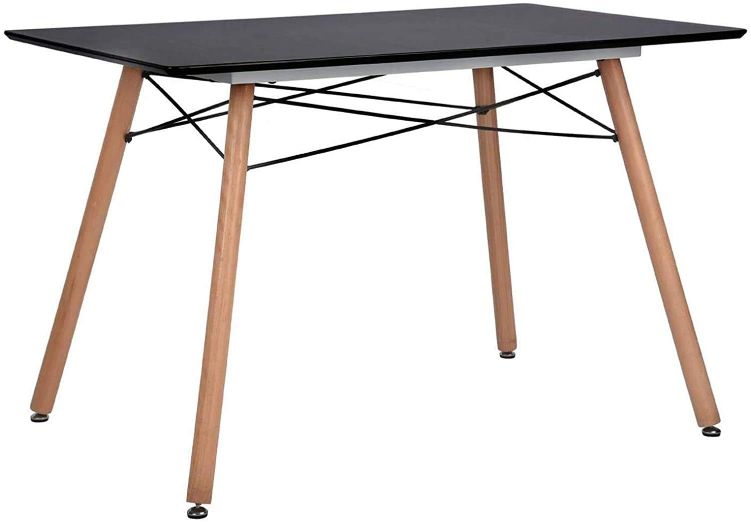 GreenForest Dining Table Rectangular Top with Wooden Legs Modern Leisure Coffee Table 44'' x 30'' Black