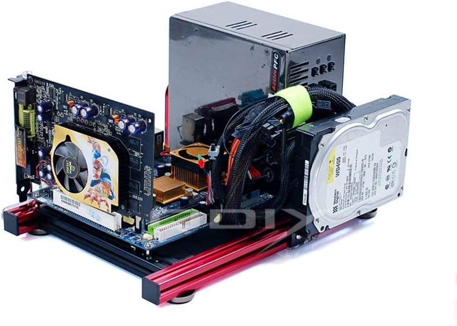 ITX Motherboard Test Bench Open Air Frame Computer Case Aluminum Bracket DIY Bare Frame Support Graphics Card Black