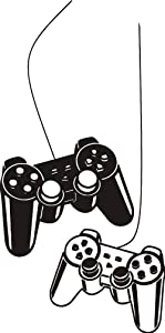 Wall Art Decal Joystick Gamer Video Controller Boy Room Gaming Room Decoration Wall Sticker Removable Kids Playroom Mural Y-209 (Black, 42x70cm)