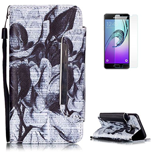 Samsung Galaxy A3 2016 Premium Leather Wallet Case [Free Screen Protector],KaseHom Vintage Black and White Flower Pattern Design Folio Flip Magnetic Protective PU Leather Case Cover Skin Shell