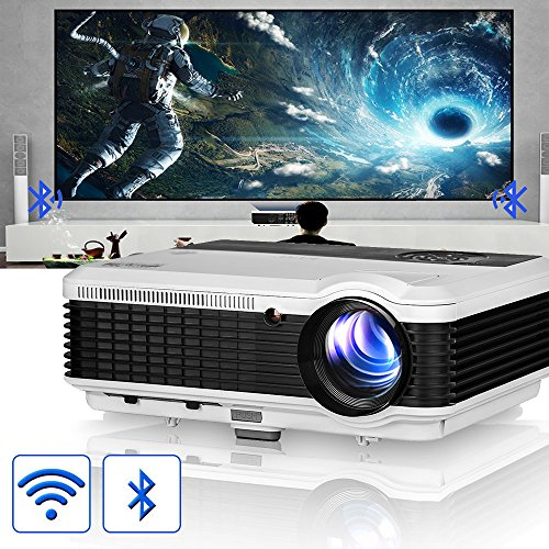 Android Bluetooth Lcd Projector Wxga Hd 1080P Support 3600 Lumen Wifi Smart Led Home Theatre Projector Airplay Miracast Wireless For Iphone Smartphone  Multimedia Hdmi Usb Audio For Outdoor Indoors