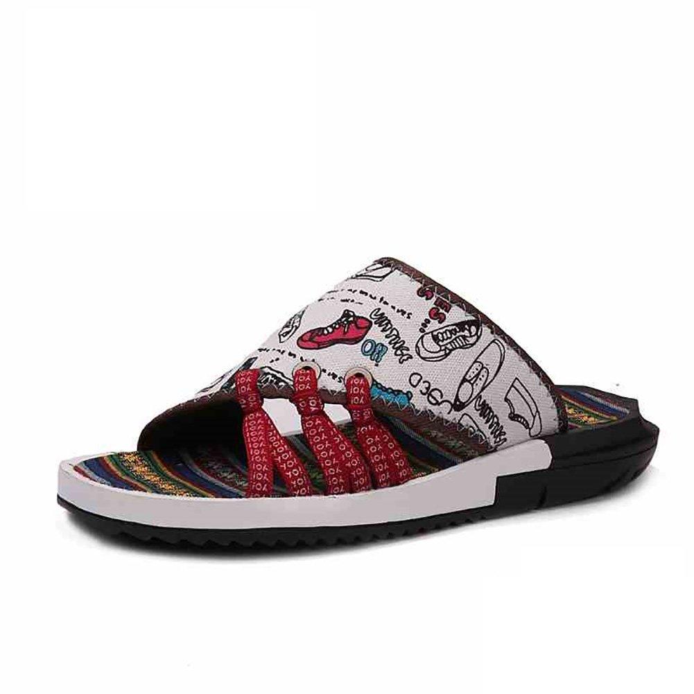 Ethnischen Stil Stoff Slipper Sandale Mann weiche Strand Schuhe Open-Toe entwickelt weiche Mann rutschfeste Schwarz (39-44 Größe) (Farbe : B, größe : 43) A 0b5bbd