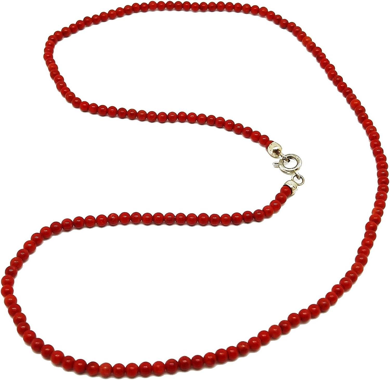 El Coral Collar Rojo Bolas 3 mm, Longitud 50 cm y Cierre Plateado