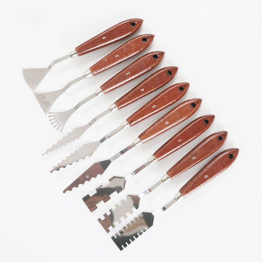 9pcs Stainless Steel Gouache Spatula Palette Knives for Artists by Yiding (Image #5)