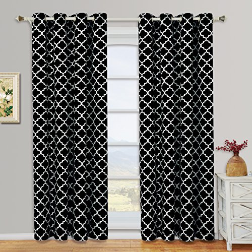 Meridian Black and White Grommet Room Darkening Window Curtain Panels, Pair / Set of 2 Panels, 52x84 inches Each, by Royal Hotel