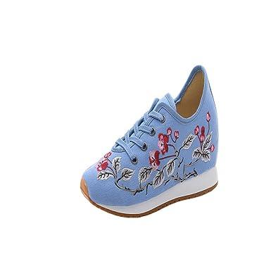 Damen Neu Freizeitschuhe Leinwand Stickerei Knöchelriemchen Einzelne Schuhe Turnschuhe (34 EU, Beige)