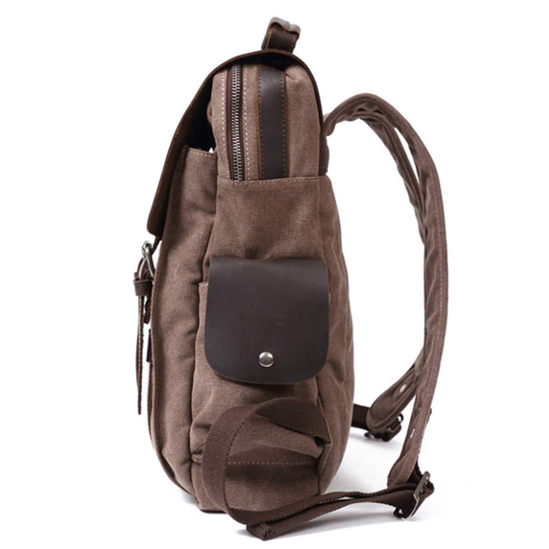 Ryggsäck retro college vind ryggsäck kanvas väska stor axel dator ryggsäck för kvinnor (färg: Sjögrön) Kaffefärg