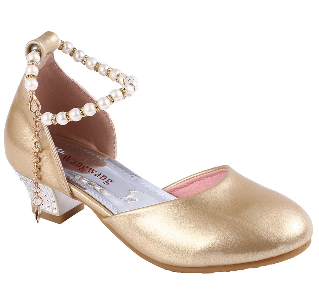 Wangwang Girls Heel Ankle Strap Shoes Kids Fashion Sandals For Wedding Party (1 M US Little Kid, Gold)