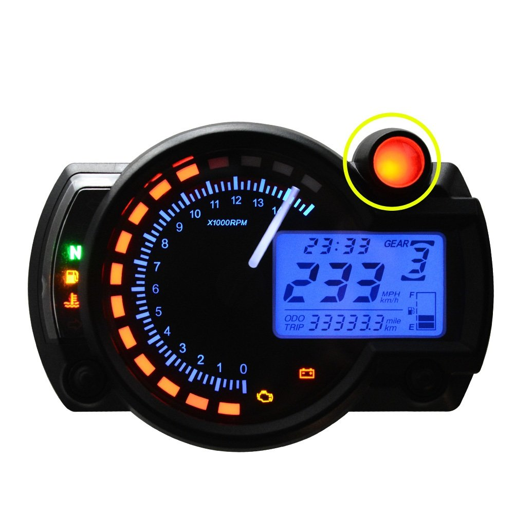 All In One Motorcycle Odometer Speedometer Tachometer Fuel Gauge Wiring Diagram Diamante Rpm 15000 Universal Lcd Digital Kit Automotive