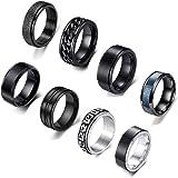 WAINIS 8 Pcs Stainless Steel Black Fidget Spinner Rings for Men Women Cool Release Anxiety Rings Set