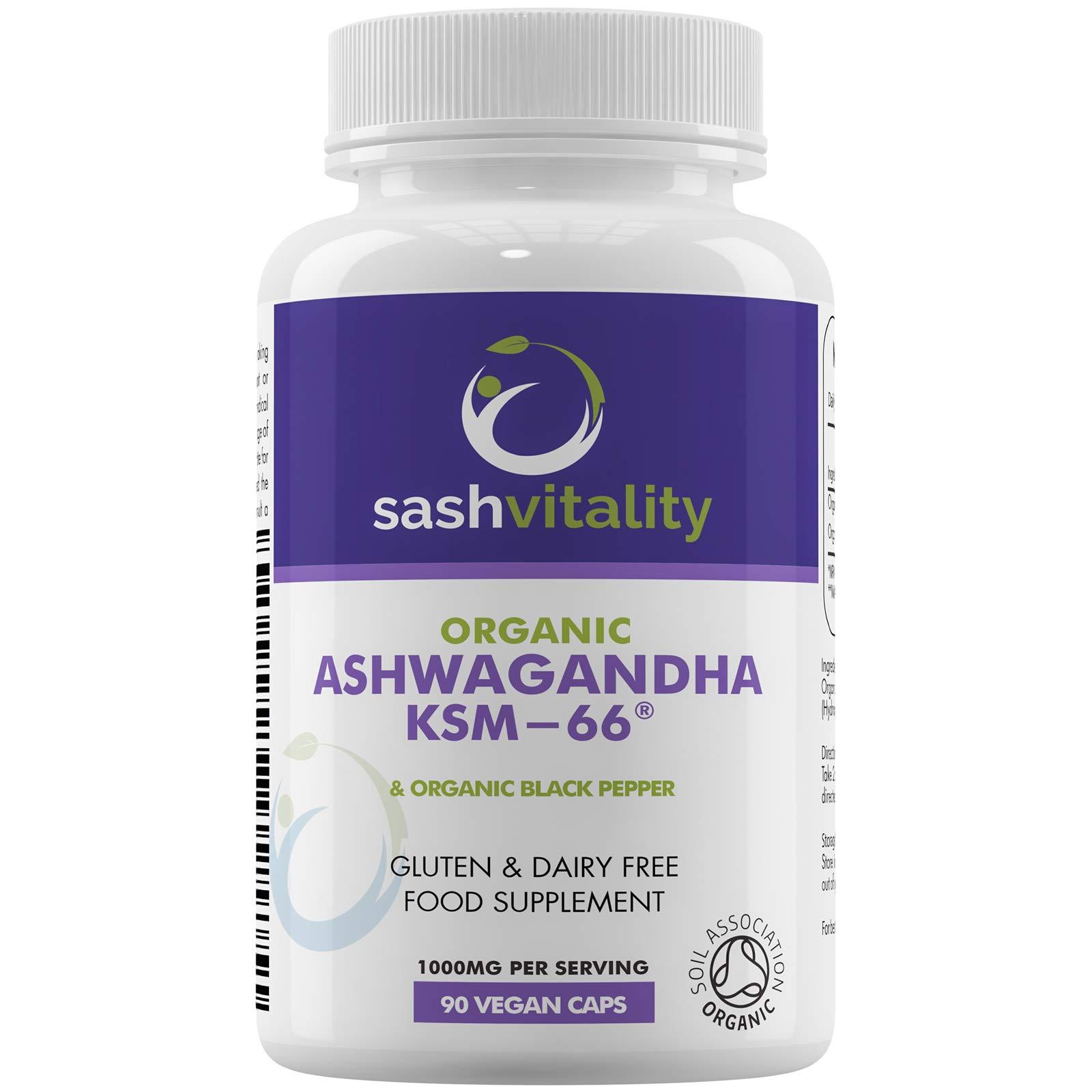 Organic Ashwagandha 1000mg Per Serving KSM-66 Vegan Capsules | Organic Black Pepper for Superior ashwangandha Absorption | Certified Organic & Vegan | Mood Support Ayurveda Supplement | UK Made