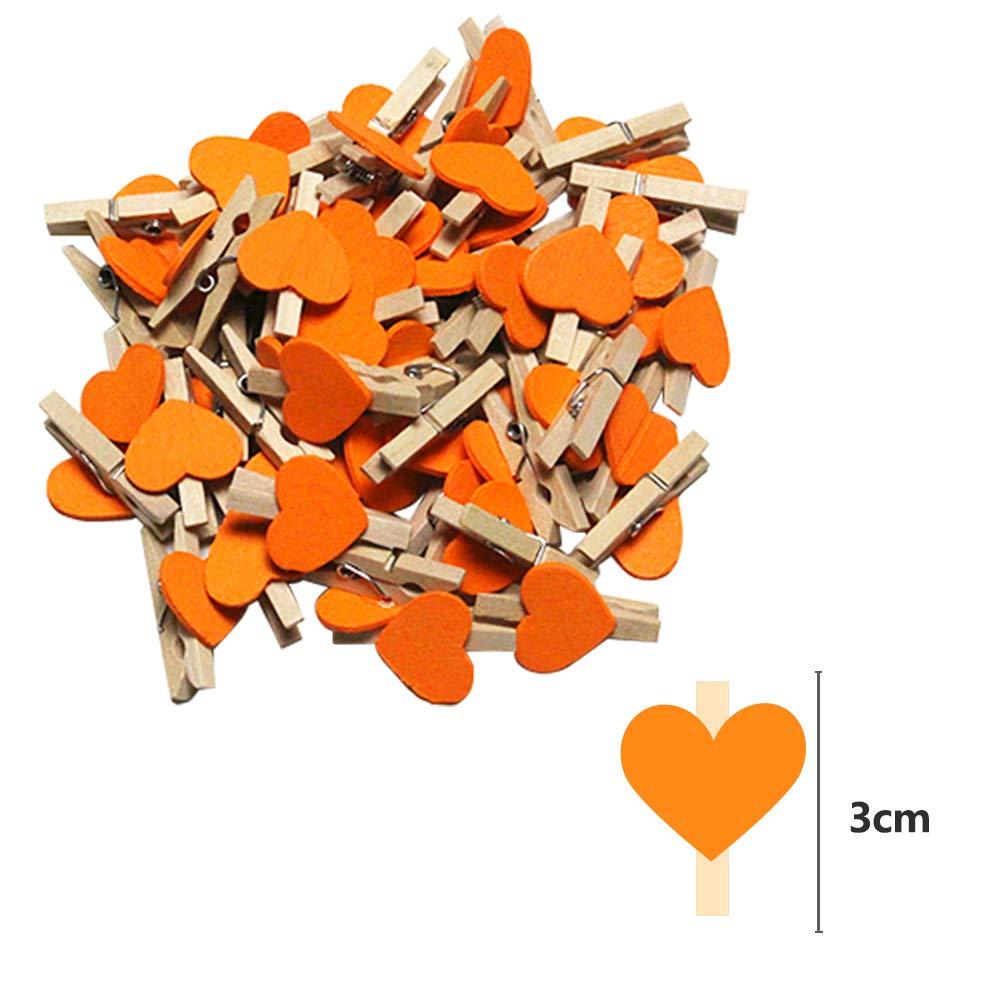 50pezzi Arancia Clip di Legno Decorativa Creativa Fatta a Mano +10m corda di canapa) SENDILI Colore Mini Clip Mollette