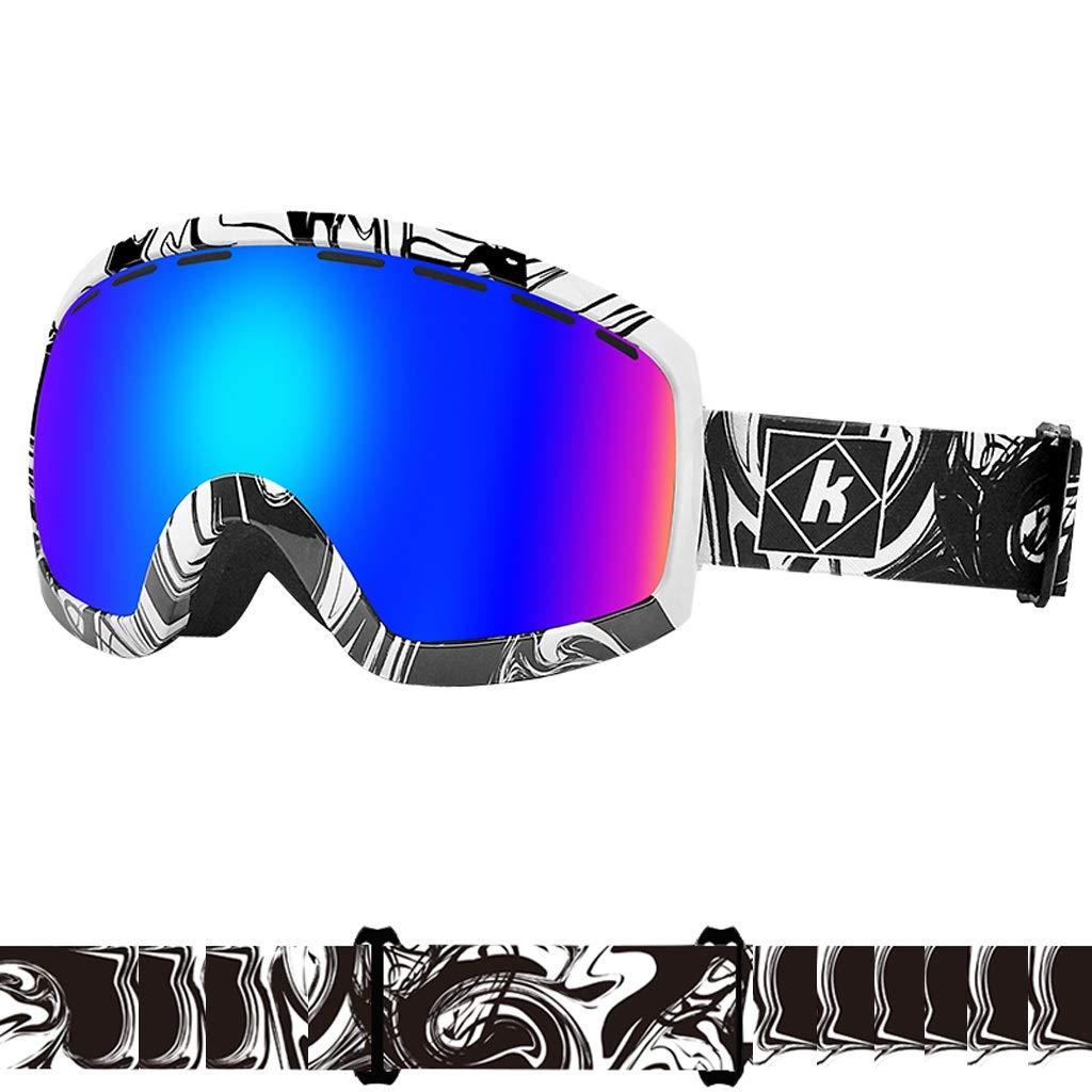 C  Lunettes de Ski Lunettes Anti-buée et Anti-UV Lunettes à Double lentille 18.5  10.2cm Rose LJJOZ (Couleur   F)