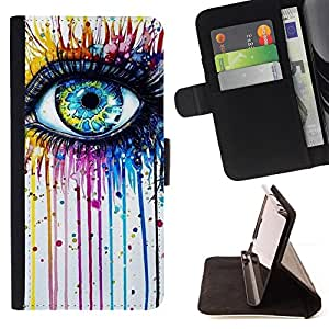 Kobe Diy Case / For Samsung Galaxy S4 Mini i9190 Eye Blue Crayon Melting Rainbow Color Dual Layer caso de Shell HUELGA Impacto pata de cabra con im???¡¯???€????€??&c