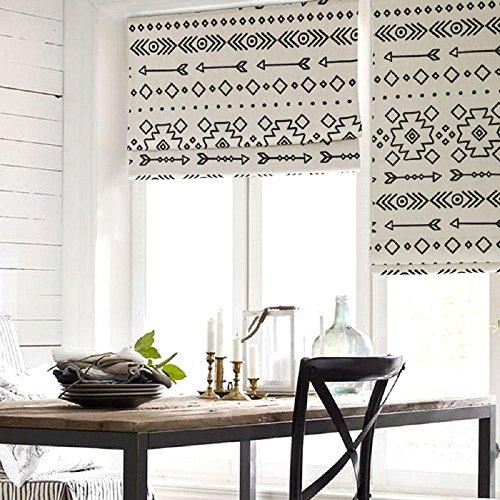 KARUILU home Quick Fix Washable Pleated Roman Window Fabric Shades Chic Geometric (Ethnic Allusion, 30W x 63H)