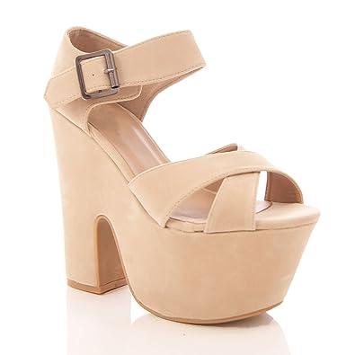 71821de3e0bb Perfect Me WOMENS CHUNKY DEMI WEDGE PLATFORM PEEP TOE HIGH HEEL ANKLE STRAP  SHOES SANDALS  Amazon.co.uk  Shoes   Bags
