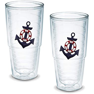 Tervis Tumbler Blue Anchor 24-Ounce Double Wall Insulated Tumbler, Set of 2