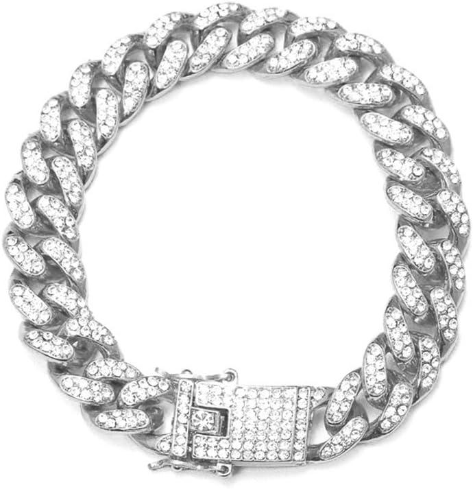 Parkomm Pulsera Cubana para Hombre Pulsera de Hip Hop Pulsera de Acero Inoxidable con Diamantes de imitación