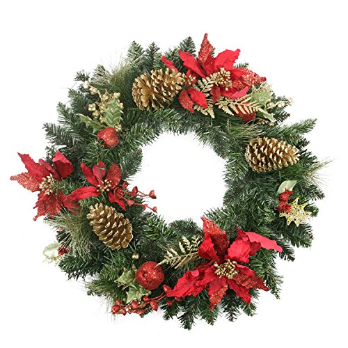 "Northlight 24"" Pre-Decorated Red Poinsettia and Gold Pine..."