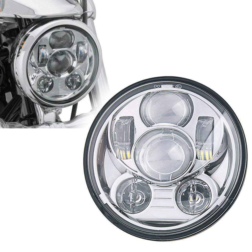 SKUNTUGUANG 5-3//4 5.75 Inch LED Headlight With Headlight Housing for Harley Davidson Chrome Projector motorcycle Headlamp