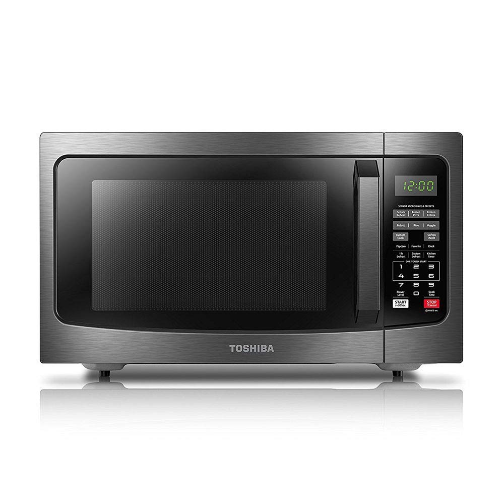 ToshibaEM131A5C-BS Microwave Oven with Smart Sensor, Easy Clean Interior, ECO Mode and Sound On/Off, 1.2 Cu.ft, 1100W, Black Stainless Steel (Renewed)