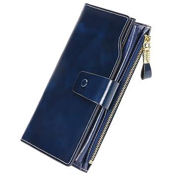 Monederos Mujer Cartera de Mujer de Gran Capacidad con RFID Bloqueo Bolsos Largo de Mujer con Cremallera de Bolsillo (Empaquetado con Caja de Regalo) ...