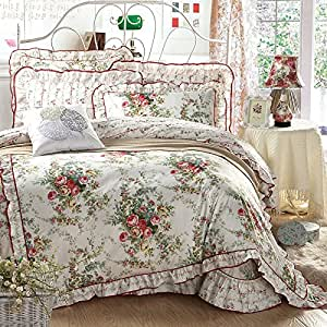 Sisbay antique rose garden bedding girls for Bride kitchen queen set
