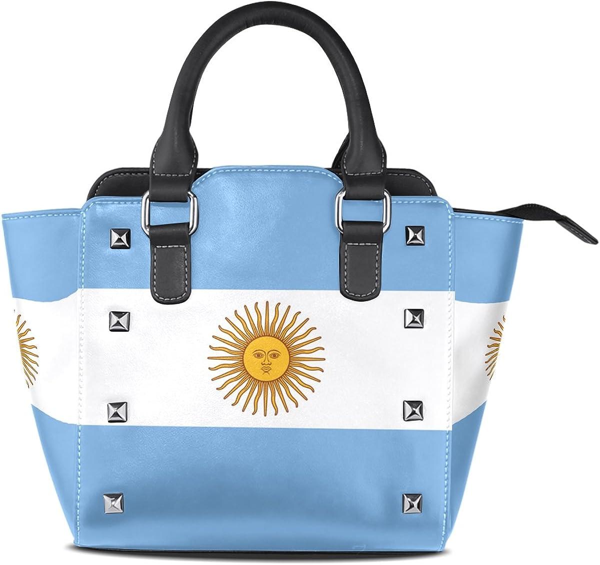 LIANCHENYI - Bolso bandolera de piel sintética con asa superior para mujer, diseño de bandera de Argentina