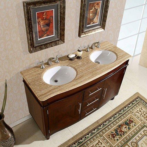Silkroad Exclusive Bathroom Vanity HYP-0222-T-UWC-55 Cambridge 55''