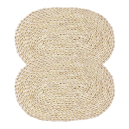 wellhouse Corn Straw Braided Dining Table Mats Extra Thick Coasters Mat Natural Handmade Woven Table Placemat Insulation Resuable Pad (2, Ellipse 11.8