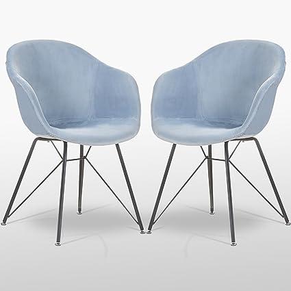 Sedie Valentina P&N Homewares in velluto azzurro (due sedie), per ...