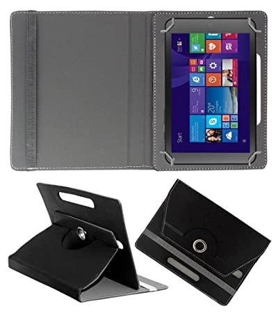 Acm Rotating Leather Flip Case Compatible with Hp Stream 7 Cover Stand Black