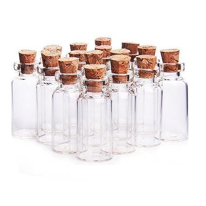 YFZYT Pequeñas botellas vacías de vidrio claro que deseen botellas viales con tapón de corcho para