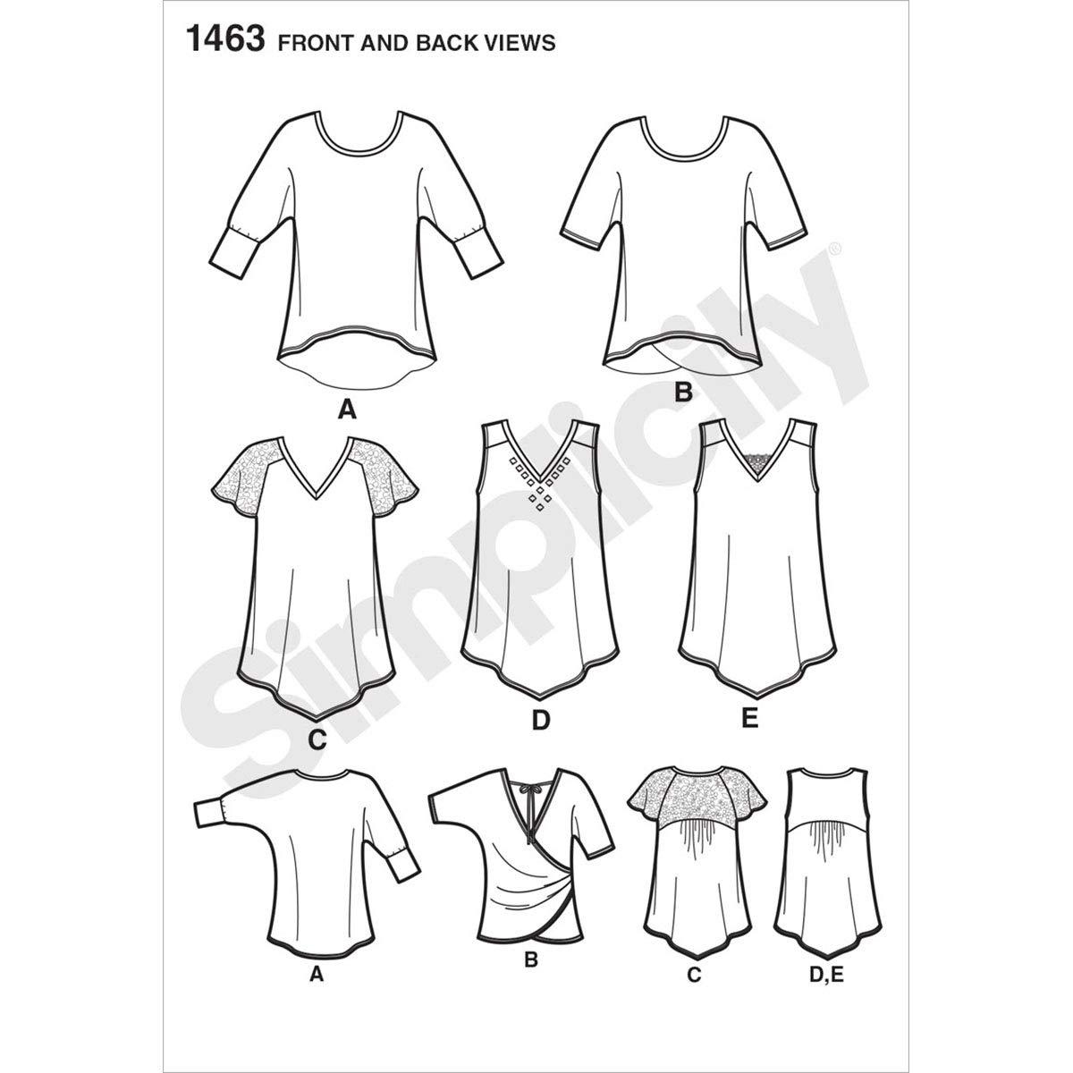 Sizes XXS-XXL Simplicity 1463 Womens Knit Top Sewing Patterns by Karen Z